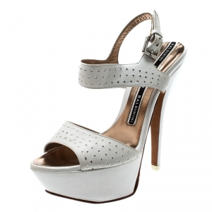 Baldinini White Crystal Embellished Leather Ankle Strap Platform Sandals Size 37