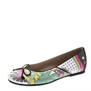 Baldinini Trend Multicolor Printed Leather Bow Ballet Flats Size 36 -