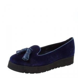 حذاء لوفرز بالدينيني شراشيب نعل سميك قطيفة أزرق مقاس 36