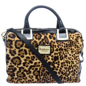 Baldinini Black Leopard Print Calfhair and Patent Leather Satchel