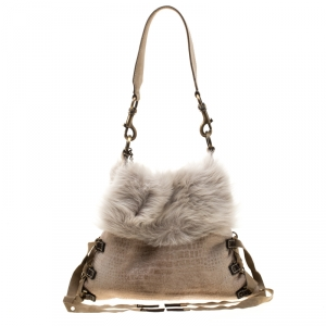Baldinini Beige Fur and Croc Embossed Leather with Fur Lining Shoulder Bag