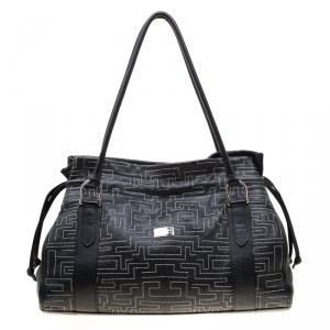 Baldinini Black Leather Shopper Tote