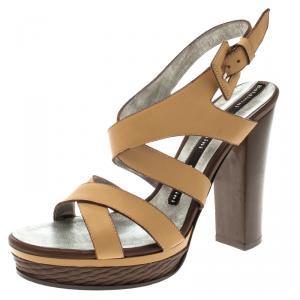 Baldinini Beige Leather Strappy Platform Sandals Size 36