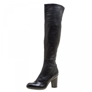 Baldinini Black Leather Knee High Boots Size 41