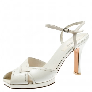 Baldinini White Leather Ankle Strap Sandals Size 39