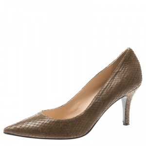 Baldinini Brown Python Embossed Leather Pointed Toe Pumps Size 40