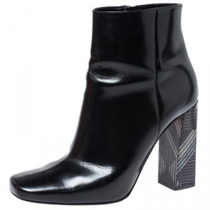Baldinini Black Leather Tribal Block Heel Ankle Boots Size 39
