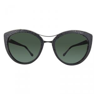 Balenciaga Shiny Black/Green BA0033 Cat Eye Sunglasses