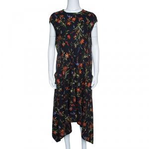 Balenciaga Black Wildfower Printed Crepe Cap Sleeve Asymmetric Dress M