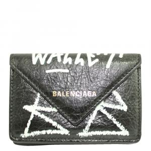 Balenciaga Black Leather Papier Mini Graffiti Wallet