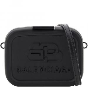 Balenciaga Black Recycled Plastic/Leather Lunch box Mini Case Bag