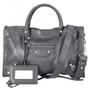 Balenciaga Grey Leather Classic City Small Bag