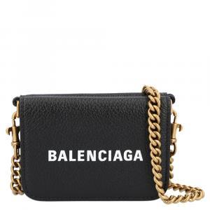 Balenciaga Black Leather Cash Mini Wallet on Chain Bag