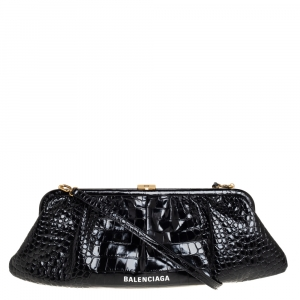 Balenciaga Black Crocodile Embossed Glossy Leather XL Cloud Clutch Bag