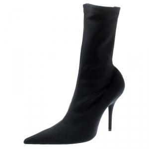 Balenciaga Black Spandex Fabric Knife Mid Calf Pointed Toe Boots Size 39