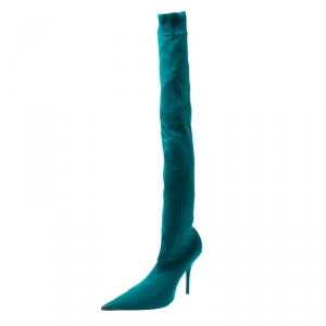 Balenciaga Blue Spandex Fabric Knife Over The Knee Pointed Toe Boots Size 39