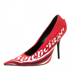 Balenciaga Red Fabric And Leather Knife Logo Pointed Toe Pumps Size 38