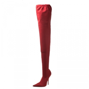 Balenciaga Red Stretch Fabric Knife Pointed Toe Thigh High Boots Size 39