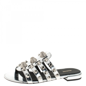 Balenciaga Metallic Silver Leather Arena Giant Studded Flat Slides Size 36