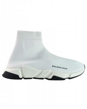 Balenciaga White Stretch Tess Gomma Sneaker Size EU 40