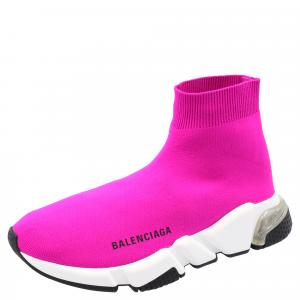 Balenciaga Pink/White Speed Clear Sole Sneakers Size 35