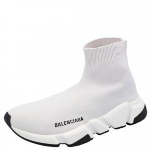 Balenciaga Beige/White Speed Clear Sole Sneakers Size 35