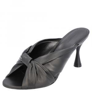 حذاء مولز بالنسياغا عقدة درابي جلد أسود مقاس EU 38