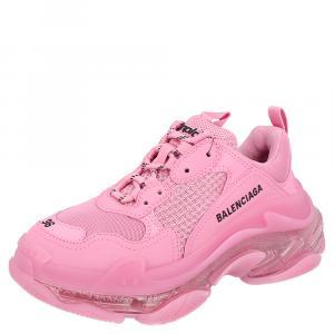 Balenciaga Pink Triple S Clearsole Sneakers Size EU 35
