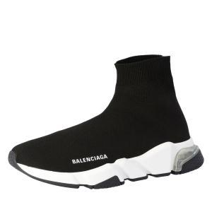 Balenciaga Black Knit Speed Clear Sole Sneakers Size EU 36