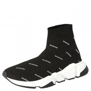 Balenciaga Black Knit Speed logo Sock Sneakers Size EU 37