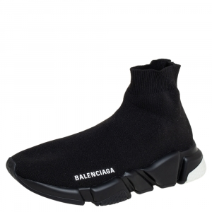 Balenciaga Black Knit Fabric Speed Trainer High Top Sneakers Size 38