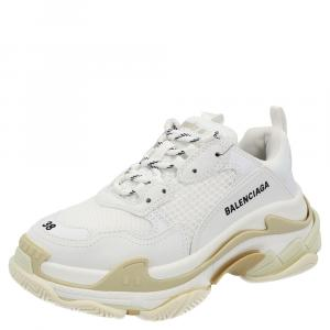 Balenciaga White Faux Leather Triple S Sneakers Size EU 36