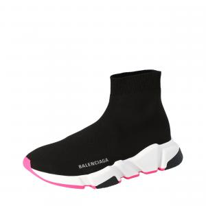 Balenciaga Black/White/Pink Speed Trainer Sneakers Size EU 38