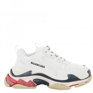 Balenciaga White and Red Triple S Sneakers Size IT 35