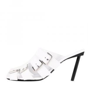 Balenciaga White Leather Buckle 80 Mules Size EU 38.5