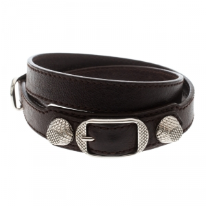 Balenciaga Arena Brown Leather Silver Tone Wrap Bracelet
