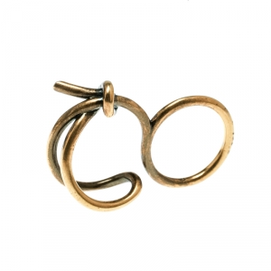 Balenciaga Asymmetric Bow Gold Tone Double Ring