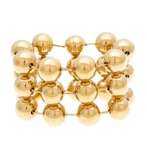 Balenciaga Gold Tone Triple Sphere Link Bracelet