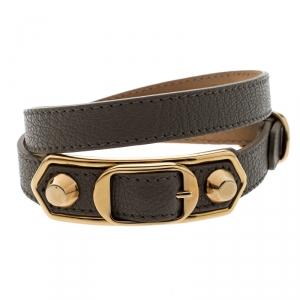 Balenciaga Grey Leather Metallic Edge Gold Tone Double Wrap Bracelet