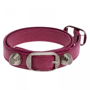 Balenciaga Pink Leather Arena Giant Wrap Bracelet S