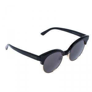 Balenciaga Black/Gold BA 128 Half Rim Round Sunglasses