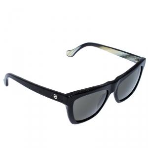 Balenciaga Black Caviar Embossed BA 57 Wayferer Sunglasses