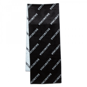 Balenciaga Bicolor Logo Intarsia Brushed Silk Scarf