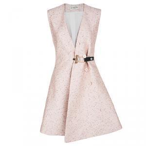 Balenciaga Textured Pale Pink Buckle Detail Sleeveless Dress Coat S