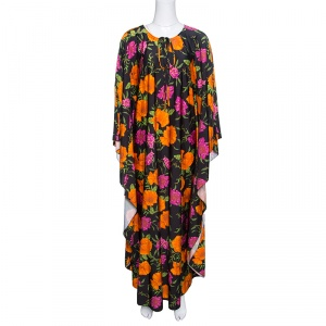 Balenciaga Black Floral Printed Neck Tie Detail Oversized Kaftan Dress S