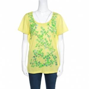 Balenciaga Yellow and Green Floral Cutout Printed T-Shirt M - used