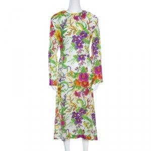 Balenciaga Crinkled Floral Print Side Zip Detail Oversized Midi Dress M