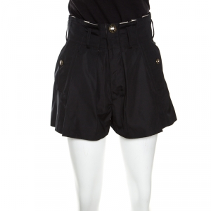 Balenciaga Black Paper Bag Waist Pleat Front Shorts M