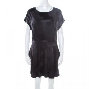 Balenciaga Black Silk Zig Zag Patterned Pleated Dress M
