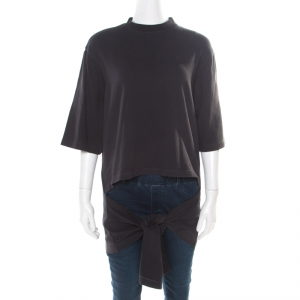 Balenciaga Washed Black Jersey Cutout Knotted Front Detail T-Shirt S - used